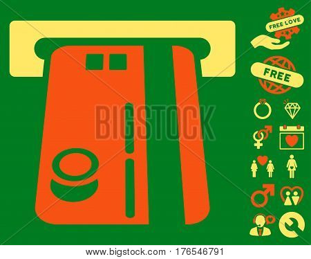 Bank ATM pictograph with bonus passion images. Vector illustration style is flat iconic symbols on white background.