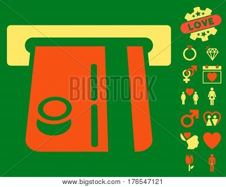 Bank Terminal pictograph with bonus amour graphic icons. Vector illustration style is flat iconic symbols on white background.