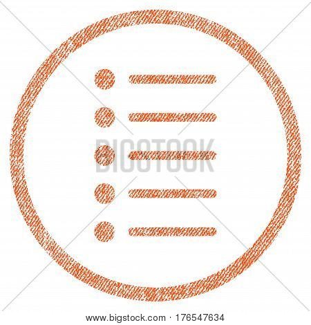 Items vector textured icon for overlay watermark stamps. Fabric orange vectorized texture. Symbol with unclean design. Rubber seal stamp with fiber textile structure.