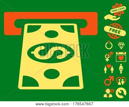 Cash Withdraw pictograph with bonus dating symbols. Vector illustration style is flat iconic symbols on white background.