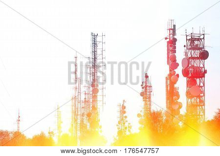 Telecommunication tower Antenna with fire and flames effects.