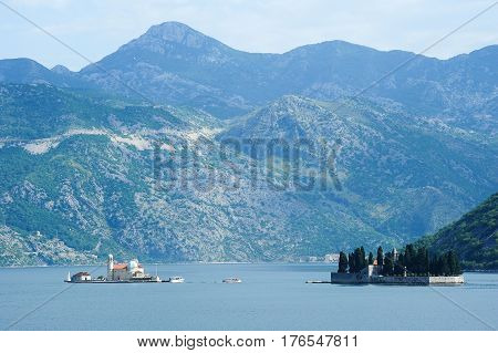 Our lady of the rock island on Kotor bay Montenegro