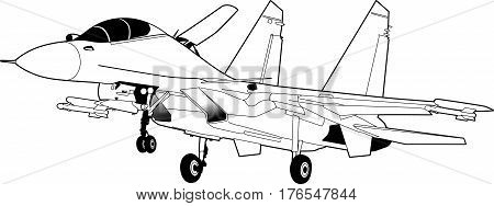 Landing of russian jet fighter aircraft SU-30. Technichal draw. Isolated on white background.