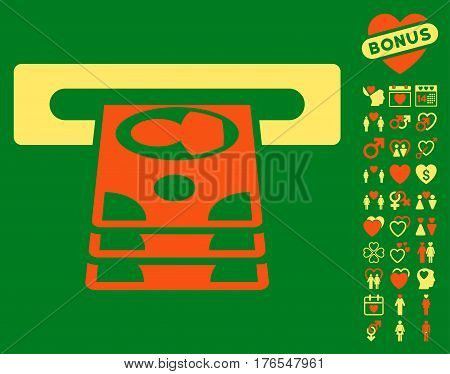Cashpoint icon with bonus marriage images. Vector illustration style is flat iconic symbols on white background.