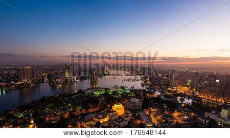 Panorama of Cairo from the top of the Cairo TV tower at sunset
