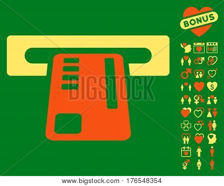 Ticket Machine icon with bonus love pictograms. Vector illustration style is flat iconic symbols on white background.