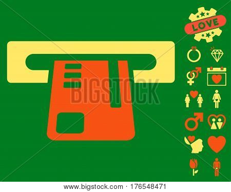 Ticket Terminal pictograph with bonus love graphic icons. Vector illustration style is flat iconic symbols on white background.