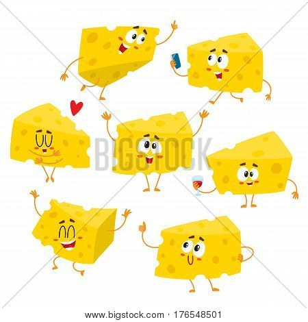 Set of cute and funny cheese chunk character showing different emotions, cartoon vector illustration isolated on white background. Funny cheese character, mascot with human face and various emotions