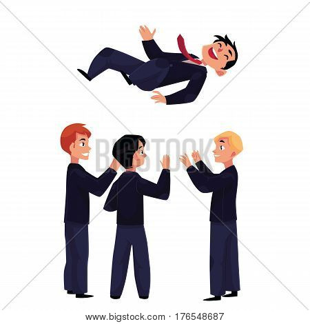 Happy businessmen, business men throwing up their leader, boss, coworker in air celebrating career success, cartoon vector illustration isolated on white background. Businessmen celebrating success