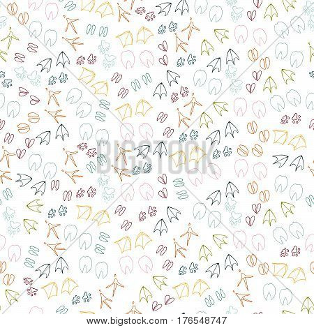 Animal vector pattern. Poultry pet steps on a white background..