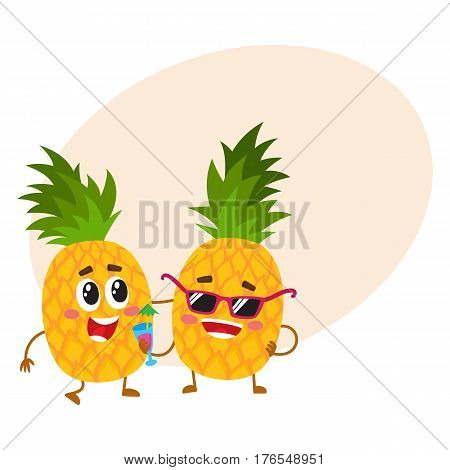 Two cute and funny pineapple characters, one tickling the other, cartoon vector illustration with place for text. Couple of funny pineapple characters, mascots having fun together
