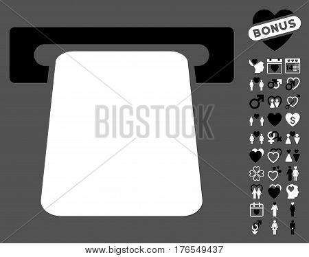 Bank ATM pictograph with bonus lovely clip art. Vector illustration style is flat iconic symbols on white background.