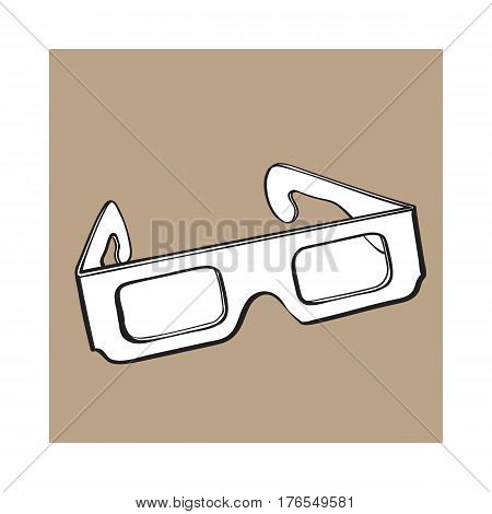 stereoscopic, 3d glasses in black plastic frame, sketch style vector illustration isolated on brown background. Hand drawn 3d stereoscopic glasses, cinema object
