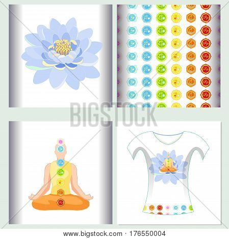 Set of seamless pattern design t-shirt sound ohm meditation Vector illustration