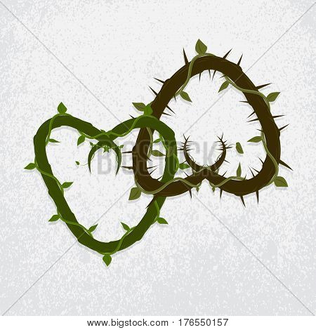 vector two intertwined hearts of vines and thorns. grunge background
