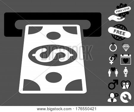 Cash Withdraw pictograph with bonus dating design elements. Vector illustration style is flat iconic symbols on white background.