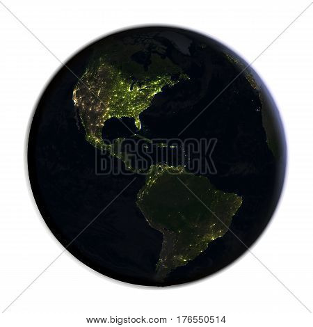 Americas On Earth At Night Isolated On White