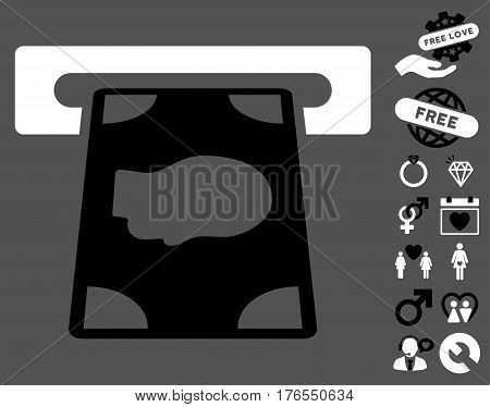 Cashpoint pictograph with bonus decorative design elements. Vector illustration style is flat iconic symbols on white background.