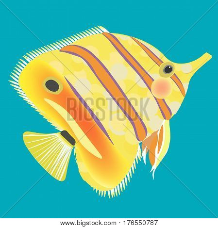 Butterflyfish The Fish A Yellow. Vector Illustration