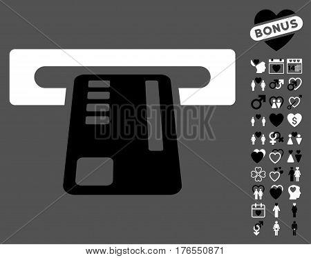 Ticket Machine icon with bonus passion pictograms. Vector illustration style is flat iconic symbols on white background.