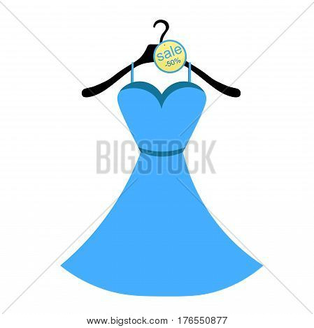 Coat Hanger With A Dress Blue. Vector Illustration