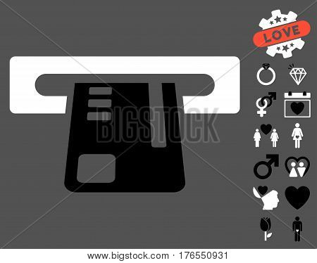 Ticket Terminal icon with bonus marriage clip art. Vector illustration style is flat iconic symbols on white background.