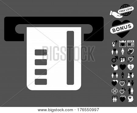 Ticket Terminal icon with bonus lovely clip art. Vector illustration style is flat iconic symbols on white background.