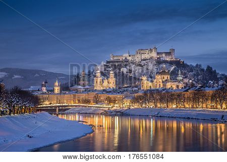 Hstoric City Of Salzburg In Winter At Dusk, Salzburger Land, Austria