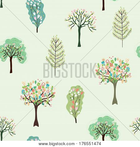 Seamless pattern with blossom trees for spring - vector graphic illustration