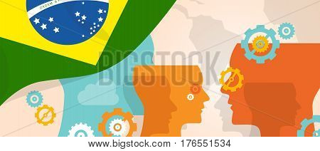 Brazil concept of thinking growing innovation discuss country future brain storming under different view represented with heads gears and flag vector