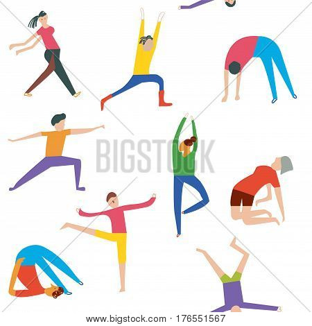 People doing yoga seamless pattern - funny design vector graphic illustration