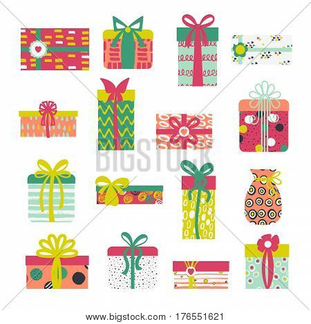Set of simple birthday gift box present with pretty hand-painted brush ink ornament with different ribbons isolated on white background.