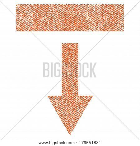 Pull Down vector textured icon for overlay watermark stamps. Fabric orange vectorized texture. Symbol with dirty design. Rubber seal stamp with fiber textile structure.