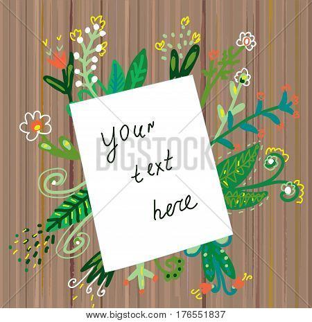 Paper background template with flowers and wooden texture- vector graphic illustration