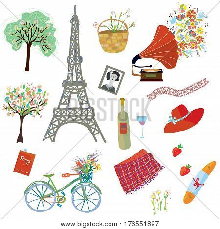 Paris summer picnic set of design elements - funny style vector graphic illustration