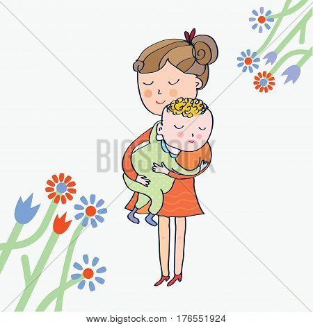 Greeting card with mom and baby - vector graphic illustration