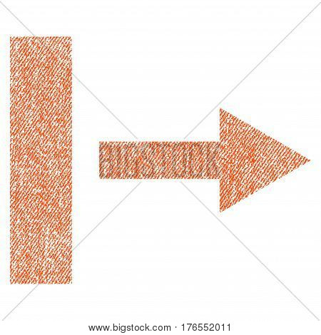Pull Right vector textured icon for overlay watermark stamps. Fabric orange vectorized texture. Symbol with unclean design. Rubber seal stamp with fiber textile structure.