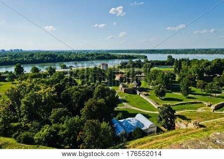 View from Kalemegdan fortress to confluence of Danube and Sava river, Belgrade, Serbia