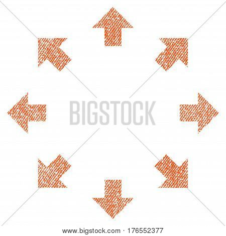 Radial Arrows vector textured icon for overlay watermark stamps. Fabric orange vectorized texture. Symbol with dust design. Rubber seal stamp with fiber textile structure.