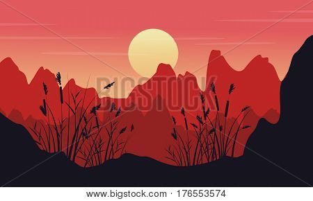 Silhouette of cliff with coarse grass landscape vector art
