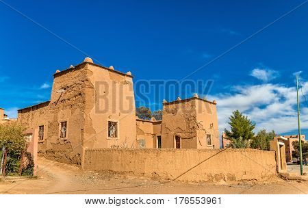 Traditional kasbah house in Kalaat M'Gouna, a town in the Valley of Roses, Morocco