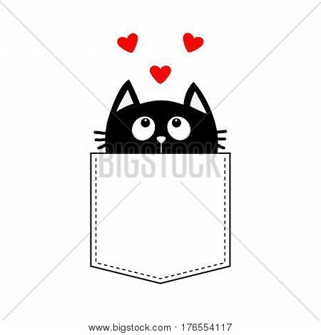 Black cat in the pocket looking up to three red heart set. T-shirt design. Cute cartoon character. Kawaii animal. Love Greeting card. Flat design style. White background. Isolated. Vector illustration