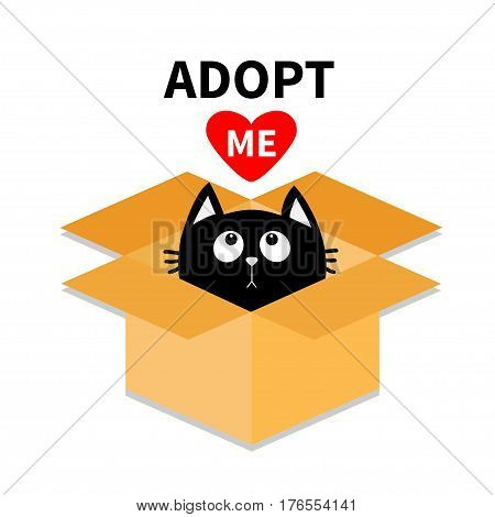 Adopt me. Dont buy. Cat inside opened cardboard package box. Pet adoption. Kitten looking up to red heart. Flat design style. Help homeless animal concept White background Isolated Vector illustration