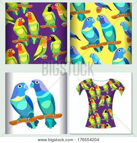 Set For T-shirt Design Seamless Pattern Lovebirds Parrot. Vector Illustration