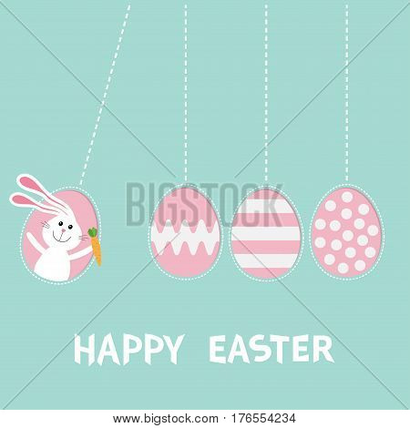 Happy Easter text. Hanging pink painting pattern egg set. Bunny rabbit hare holding carrot. Dash line. Perpetual motion mobile. Greeting card. Flat design style. Cute character. Vector illustration