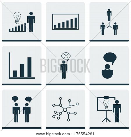 Set Of 9 Executive Icons. Includes Decision Making, Conversation, Company Statistics And Other Symbols. Beautiful Design Elements.
