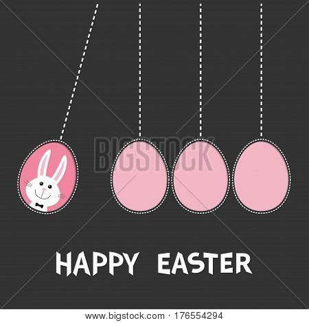 Happy Easter text. Hanging pink painting egg set. Bunny rabbit hare. Dash line. Perpetual motion mobile. Greeting card. Flat design style. Cute cartoon character. Black background Vector illustration