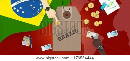 Made in Brazil price tag illustration badge export patriotic business transaction vector