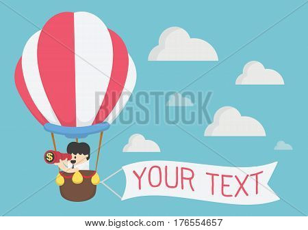 businessman looking through binoculars with message on banner vector illustration