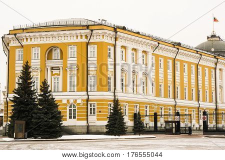 The Senate Palace on the territory of the Moscow Kremlin built in the classical style in the city of Moscow